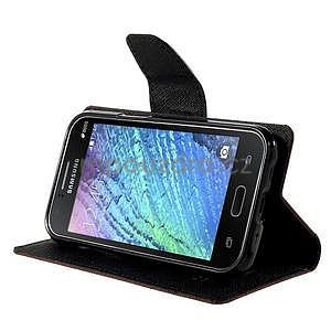 Hnědé/černé PU kožené pouzdro na Samsung Galaxy J1 - 3