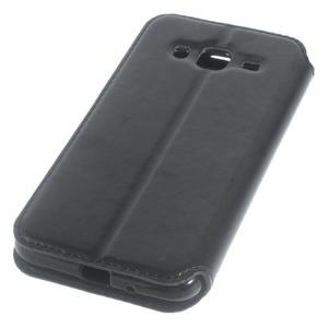Peněženkové PU kožené pouzdro s okýnkem na Samsung Galaxy J3 (2016) - černé - 3