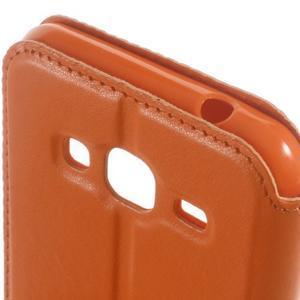 Peněženkové PU kožené pouzdro s okýnkem na Samsung Galaxy J3 (2016) - oranžové - 3