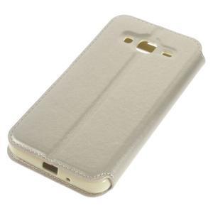 Peněženkové PU kožené pouzdro s okýnkem na Samsung Galaxy J3 (2016) - zlaté - 3