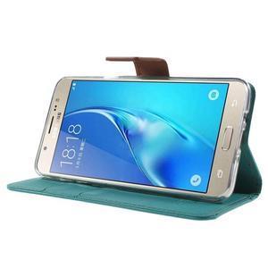 Gentle PU kožené peněženkové pouzdro na Samsung Galaxy J5 (2016) - zelenomodré - 3