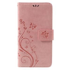 Butterfly PU kožené pouzdro na mobil Samsung Galaxy J5 (2016) - růžové - 3