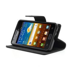 Diary PU kožené pouzdro na mobil Samsung Galaxy S2 - černé - 3