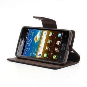 Diary PU kožené pouzdro na mobil Samsung Galaxy S2 - černé/hnědé - 3