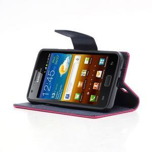 Diary PU kožené pouzdro na mobil Samsung Galaxy S2 - rose - 3