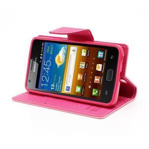 Diary PU kožené pouzdro na mobil Samsung Galaxy S2 - růžové - 3