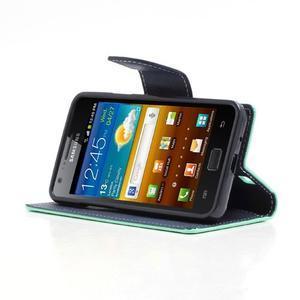 Diary PU kožené pouzdro na mobil Samsung Galaxy S2 - azurové - 3