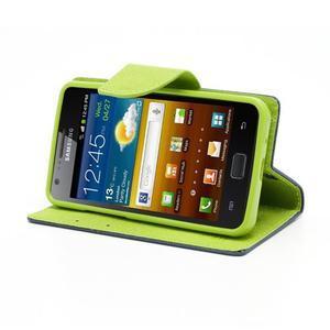 Diary PU kožené pouzdro na mobil Samsung Galaxy S2 - tmavěmodré - 3