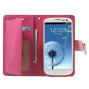 RichDiary PU kožené pouzdro na Samsung Galaxy S3 - růžové - 3