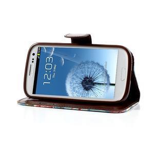 Květinové pouzdro na mobil Samsung Galaxy S3 - modré pozadí - 3