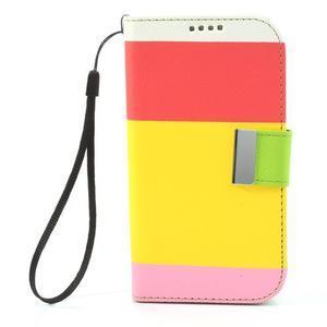 Tricolors PU kožené pouzdro na mobil Samsung Galaxy S3 - žlutý střed - 3