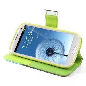 Tricolors PU kožené pouzdro na mobil Samsung Galaxy S3 - černý střed - 3