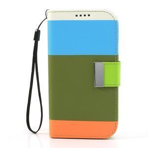 Tricolors PU kožené pouzdro na mobil Samsung Galaxy S3 - zelený střed - 3