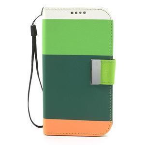 Tricolors PU kožené pouzdro na mobil Samsung Galaxy S3 - tmavězelený střed - 3