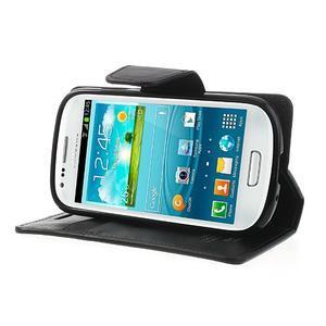 Diary PU kožené pouzdro na Samsung Galaxy S3 mini - černé - 3
