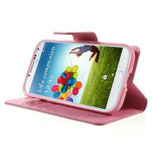 Diary PU kožené pouzdro na mobil Samsung Galaxy S4 - růžové - 3
