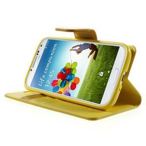 Diary PU kožené pouzdro na mobil Samsung Galaxy S4 - žluté - 3