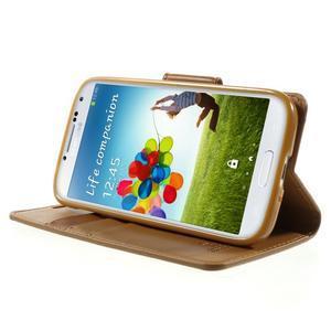 Diary PU kožené pouzdro na mobil Samsung Galaxy S4 - hnědé - 3