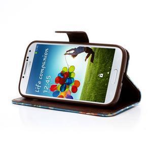 Květinové pouzdro na mobil Samsung Galaxy S4 - modré pozadí - 3