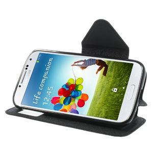 Okýnkové peněženkové pouzdro na mobil Samsung Galaxy S4 - černé - 3