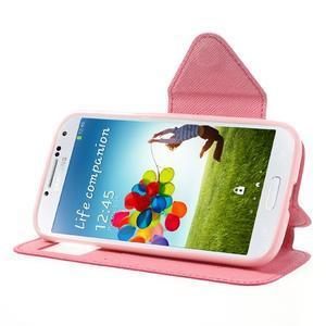 Okýnkové peněženkové pouzdro na mobil Samsung Galaxy S4 - rose - 3