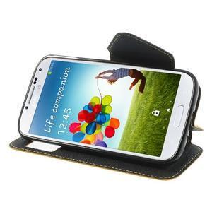 Okýnkové peněženkové pouzdro na mobil Samsung Galaxy S4 - žluté - 3