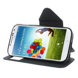 Okýnkové peněženkové pouzdro na mobil Samsung Galaxy S4 - tmavěmodré - 3