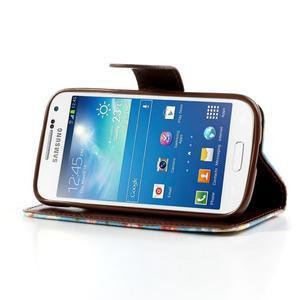 Květinkové pouzdro na mobil Samsung Galaxy S4 mini - modré pozadí - 3