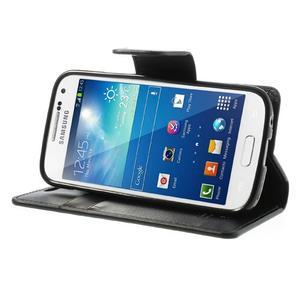 Sonata PU kožené pouzdro na mobil Samsung Galaxy S4 mini - černé - 3