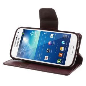 Sonata PU kožené pouzdro na mobil Samsung Galaxy S4 mini - vínové - 3