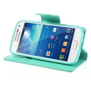 Sonata PU kožené pouzdro na mobil Samsung Galaxy S4 mini - azurové - 3