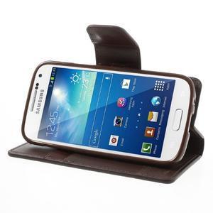 Sonata PU kožené pouzdro na mobil Samsung Galaxy S4 mini - hnědé - 3