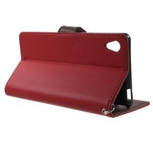 Leaf PU kožené pouzdro na mobil Sony Xperia M4 Aqua - červené - 3