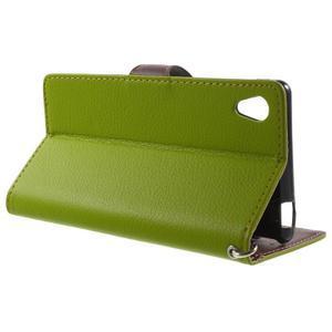 Leaf PU kožené pouzdro na mobil Sony Xperia M4 Aqua - zelené - 3