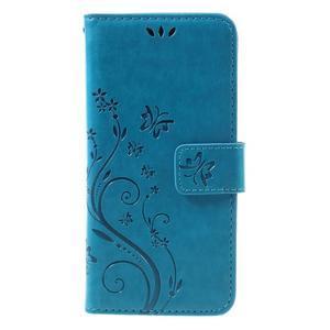 Butterfly PU kožené pouzdro na Sony Xperia X - modré - 3
