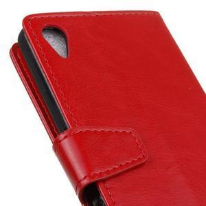 Knížkové PU kožené pouzdro na Sony Xperia X - červené - 3