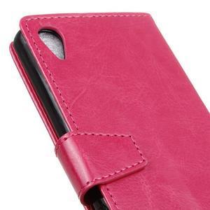 Knížkové PU kožené pouzdro na Sony Xperia X - rose - 3