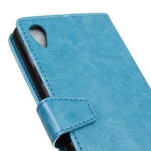 Knížkové PU kožené pouzdro na Sony Xperia X - světlemodré - 3