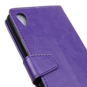 Knížkové PU kožené pouzdro na Sony Xperia X - fialové - 3