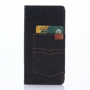 Jeans peněženkové pouzdro na mobil Sony Xperia XA - černomodré - 3