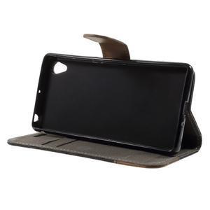 Denim textilní/koženkové pouzdro na Sony Xperia XA - černé - 3