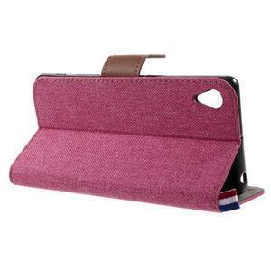 Denim textilní/koženkové pouzdro na Sony Xperia XA - rose - 3