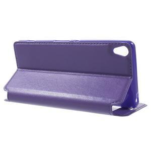 Royal PU kožené pouzdro s okýnkem na Sony Xperia XA - fialové - 3