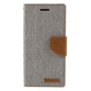 Canvas PU kožené/textilní pouzdro na mobil Sony Xperia XA - šedé - 3