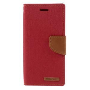 Canvas PU kožené/textilní pouzdro na mobil Sony Xperia XA - červené - 3