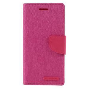 Canvas PU kožené/textilní pouzdro na mobil Sony Xperia XA - rose - 3