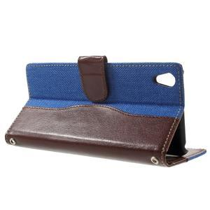 Jeansy PU kožené/textilní pouzdro na Sony Xperia XA - modré - 3