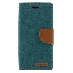 Canvas PU kožené/textilní pouzdro na mobil Sony Xperia XA - zelenomodré - 3