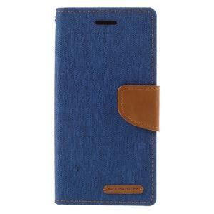 Canvas PU kožené/textilní pouzdro na mobil Sony Xperia XA - modré - 3