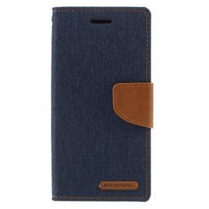 Canvas PU kožené/textilní pouzdro na mobil Sony Xperia XA - tmavěmodré - 3